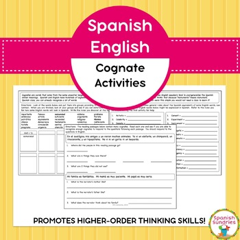 Spanish English Cognate Activities By Spanish Sundries Tpt