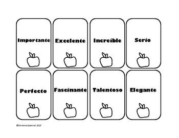 Spanish Cognates Cognados Card Game Manzanas Con Manzanas