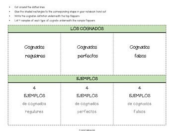 Cognados / Spanish Cognates Interactive notebook