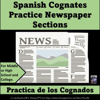 Cognates- Newspaper sections (Spanish)