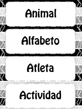 Cognates Cognados Word Wall A-Z Black & White