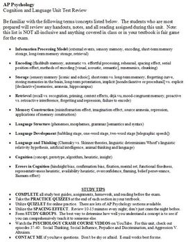 Cognition and Language Review Sheet