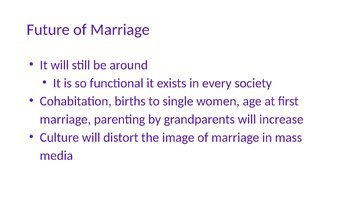 Cohabitation and Marriage Trends PowerPoint and Completed Notes