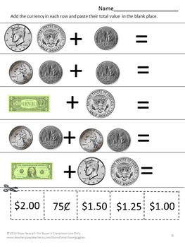 Coins Counting Money Life Skills Bundle P-k, K, Special Education Autism