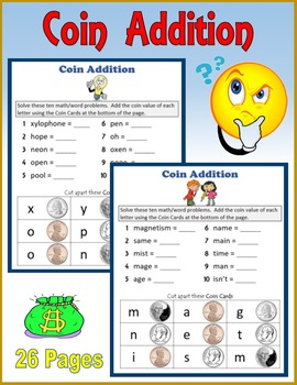 Coin Addition (Math and Spelling)