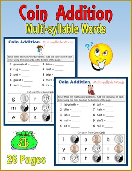 Coin Addition:  Multi-syllable Words