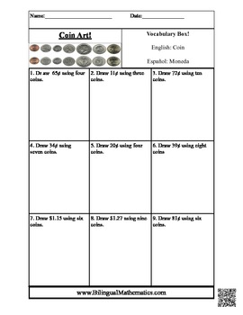 Coin Art - Count Money in ENGLISH and in SPANISH!
