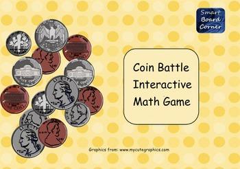 Coin Battle Interactive Math Game SMART Board Lesson