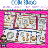 Coin Bingo- Counting Pennies, Nickels and Dimes