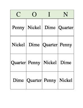 Coin Bingo Words