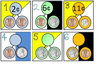 Calendar Date Cards - Adding Coins Number Bonds