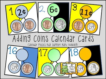 Calendar Date Cards - Adding Coin Combinations
