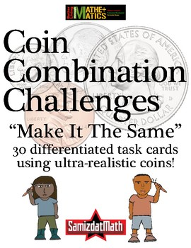 Coin Challenge Task Cards: Make It The Same with ultra-realistic coins