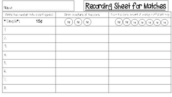 Coin Collection Matching Activity (Using Pennies, Nickels, and Dimes)