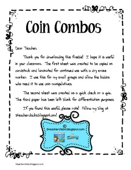 Coin Combinations Freebie