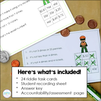 Coins Money Math Riddle Task Cards