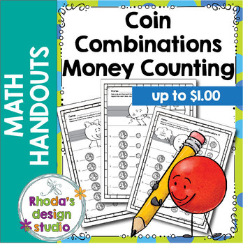 Coin Combinations Up to $1.00 Worksheets with Spinner Practice