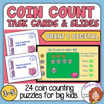 Money, Counting Coins, Puzzle Task Cards