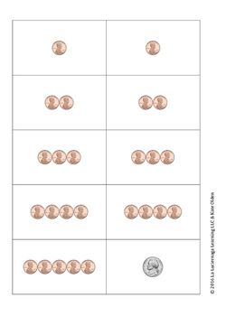Coin Counting Card Game - Pennies, Nickles, & Dimes up to 25 cents
