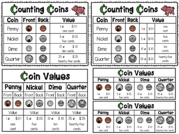 Counting Coins Work Mats and Reference Charts!