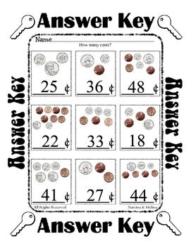 Coin Counting Money ~ Under 50 Cents ~ One work sheet ~ many Holidays