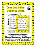 Coin Counting Money ~ Under 50 Cents ~ One work sheet ~ ma