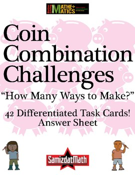 Coin Counting Mystery Task Card Challenges: 42 different divergent thinker tasks