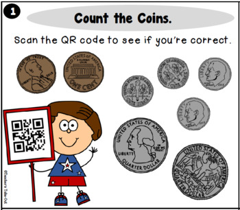 Coin Counting Task Cards with QR Codes