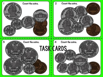 Money Bundle: Counting Coins Task Cards, Menu Math and Game