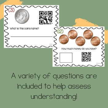 Coin Counting Task Cards With QR Code Answers!