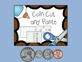Coin Cut and Paste, Match and Identify Quarter, Dime, Nickel, Penny