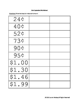 Coin Equivalent Worksheet