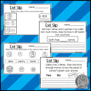 Coin Exit Slips! Penny, Nickel, Dime, and Quarter