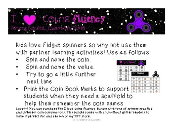 Coin Fidget Spinner Fluency Freebie, Penny, Nickel, Dime and Quarter