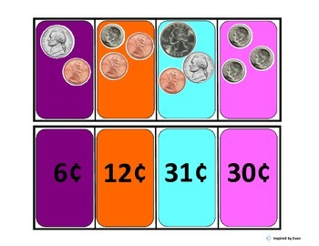 Coin Groups and Values, Flashcard Matching for Autism
