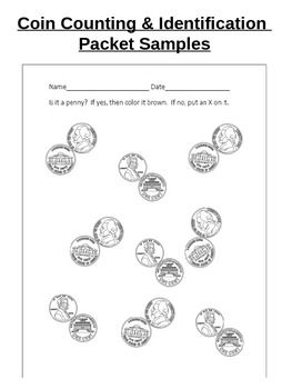 Coin ID and Counting Worksheets and Assessment (Pennies, Nickels, Dimes)