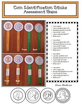 Coin Identification Craft Sticks: Practice & Assessment Game
