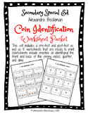 Money Coin Identification Worksheet Packet