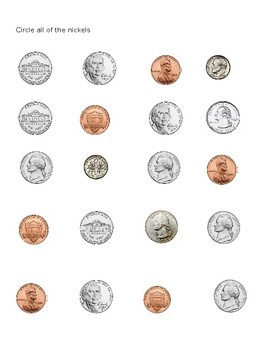 Coin Identification Worksheets