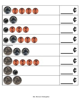 Coin Identification and Determining the Value of a Set of Coins (Assessment)