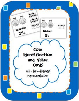 Coin Identification and Value Activity Cards with Ten-Fram
