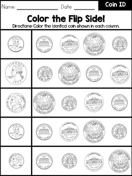 Coin Identification and Values Workbook