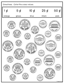 Coin Identification by Value- Daily Math Practice