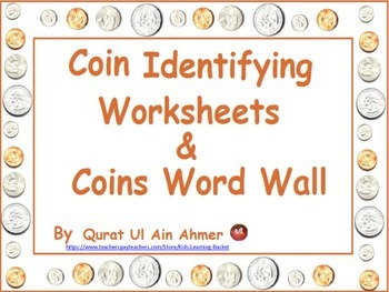 Coin Identifying Worksheets & word Wall: