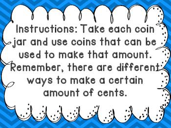 Coin Jars Math Center BILINGUAL