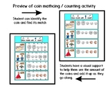 Coin Matching and Counting - Math Activity