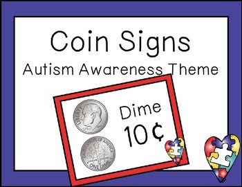 Coin Posters Autism Awareness Theme {FREEBIE}
