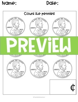 Coin Practice: Naming coins and value and adding like-coins