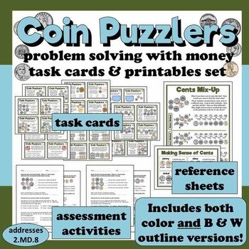 Coin Puzzlers - problem solving with money less than $1 task cards & printables