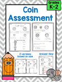 Coin Quiz Assessment, Match and Identify Quarter, Dime, Nickel, Penny
